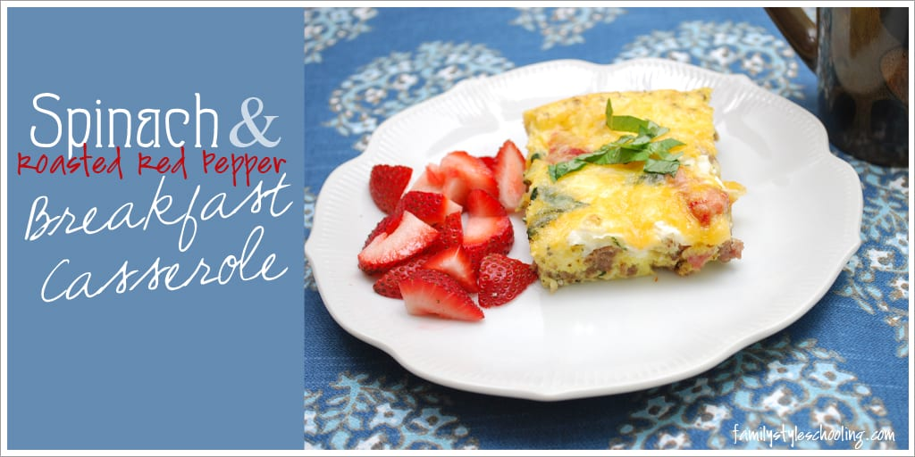 Spinach and Roasted Red Pepper Breakfast Casserole