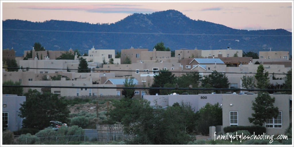 view from hotel of Santa Fe, NM