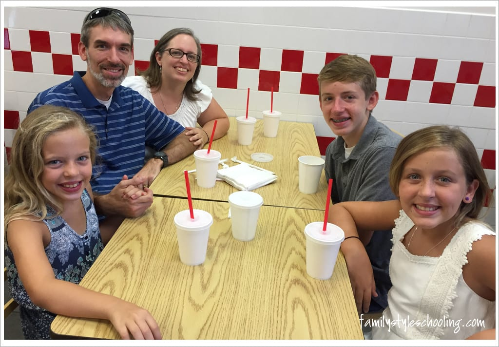 family dinner at five guys burgers