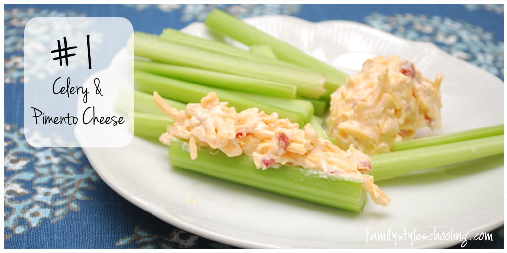 savory snack celery with pimento cheese