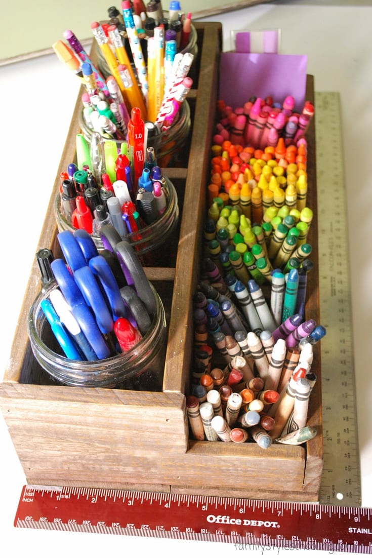 Upcycled rustic pencil caddy